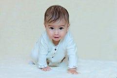 Baby, das auf dem weißen Hintergrund sitzt Stockbild