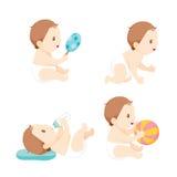 Baby, das Baby-Flasche, Satz kriecht, spielt und saugt vektor abbildung