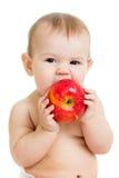 Baby, das den Apfel, lokalisiert auf Weiß isst Lizenzfreie Stockfotografie