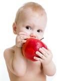 Baby, das den Apfel, lokalisiert auf Weiß isst Lizenzfreie Stockbilder