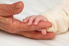 Baby, das den Finger der großen Großmutter hält Lizenzfreie Stockfotografie