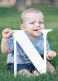 Baby, das großen weißen Buchstaben N hält und Zahnfleisch auf grünem Gras am Sommertag verkratzt Lizenzfreie Stockbilder
