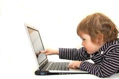 Baby, das an Laptop arbeitet Stockfoto