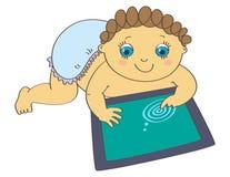 Baby, das mit digitaler Tablette spielt stock abbildung