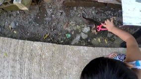Baby, das mit schwarzem Babykätzchen mit roten Spielzeugzangen spielt stock footage