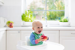 Baby, das zu Hause Apfel in der weißen Küche isst Lizenzfreie Stockbilder