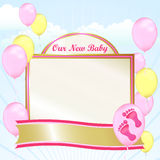 New Baby Girl Up. Congratulations to parents on a baby girl with this card and banner. Bright pink footprints, a gold banner and balloons to celebrate with Stock Photography