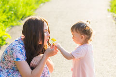 Baby daughter Giving Mother Flowers in the park.  Stock Photography