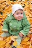 Baby in de herfstbladeren Royalty-vrije Stock Foto's