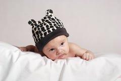 Baby in de hoed met oren Royalty-vrije Stock Fotografie