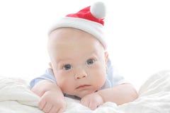 Baby in de Hoed van de Kerstman Royalty-vrije Stock Afbeeldingen