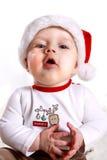Baby in de hoed van de Kerstman Royalty-vrije Stock Foto's