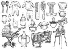 Baby, de illustratie van zuigelingstoebehoren, tekening, gravure, inkt, lijnkunst, vector royalty-vrije illustratie