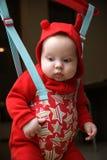 Baby in de verbindingsdraad royalty-vrije stock afbeelding