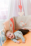 Baby in de voederbak Royalty-vrije Stock Afbeelding