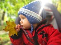 Baby in de yard royalty-vrije stock afbeelding