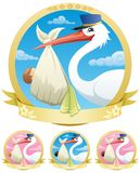 Baby Delivery. Stork is delivering a baby. The illustration is in 4 different versions Royalty Free Stock Images