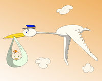 Baby delivery service. Flying stork home delivery child Stock Images
