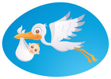 Baby Delivery Stork. Vector cartoon illustration of a stork delivering a cute little newborn baby royalty free illustration