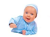 Baby in der blauen Klage Lizenzfreies Stockfoto