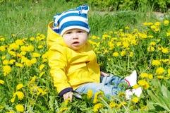 Baby in der gelben Jacke unter Löwenzahn Lizenzfreies Stockfoto