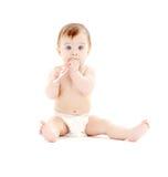 Baby in der Windel mit Zahnbürste #3 Lizenzfreies Stockbild