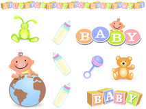 Baby Design Elements. Set of 8 Baby Images Royalty Free Stock Photo