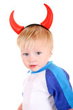 Baby with Devil Horns. Baby Boy with Devil Horns on the Head Isolated on the White Background Stock Photos