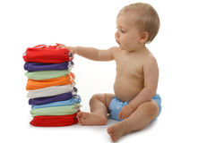 Baby and diaper stock photos