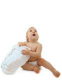 Baby with diaper Royalty Free Stock Photography