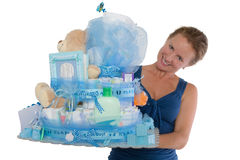 Baby Diaper Cake with Diffrent Items Presented Royalty Free Stock Photo