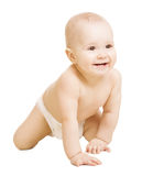 Baby in Diaper, Crawling Little Kid. Infant Active Child Portrait White Isolated royalty free stock photography