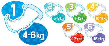 Baby diaper. Different sizes labels vector illustration