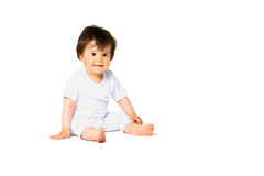 Baby in diaper isolated on white background Stock Photo
