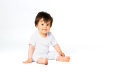 Baby in diaper isolated on white background Royalty Free Stock Photography