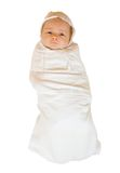 Baby in diaper over white background Royalty Free Stock Image