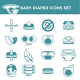 Baby diaper package information vector icons set. Baby diaper package information icons. Vector symbols set for sensitive skin, stretch fastener and vector illustration