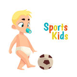 Baby in diaper playing football Royalty Free Stock Photo