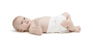 Baby in diaper  on white background Royalty Free Stock Photography