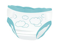Baby diapers. With funny picture on it. Vector illustration on white background Royalty Free Stock Photo