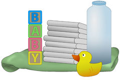 Baby diapers illustration Royalty Free Stock Image