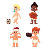 Baby in diapers playing sports Royalty Free Stock Photo