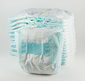 Baby diapers on a white background Stock Photos