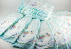 Baby diapers on a white background.  royalty free stock photography
