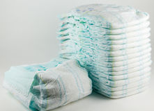 Baby diapers on a white background Royalty Free Stock Photography