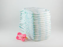 Baby diapers on a white background Royalty Free Stock Photo