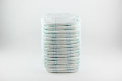 Baby diapers on a white background.  stock photo
