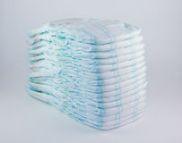 Baby diapers on a white background Stock Image