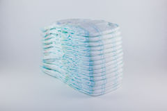 Baby diapers on a white background Royalty Free Stock Photos
