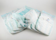 Baby diapers on a white background Royalty Free Stock Image